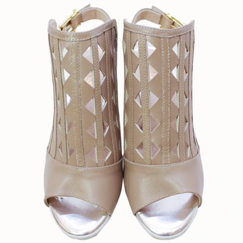 山羊皮雷射雕花設計感高跟涼鞋