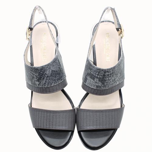 小羊皮異材質拼接中粗跟涼鞋