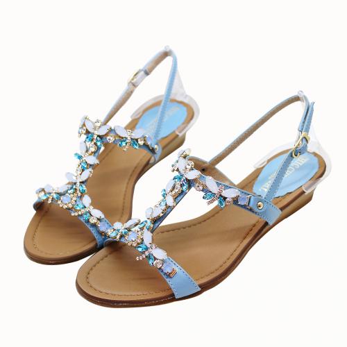 頂級珠寶小牛皮平口楔型小坡涼鞋