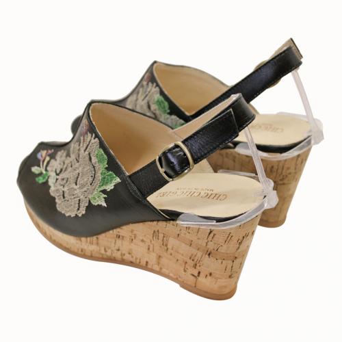 古馳風小牛皮繡花氣墊楔型涼鞋
