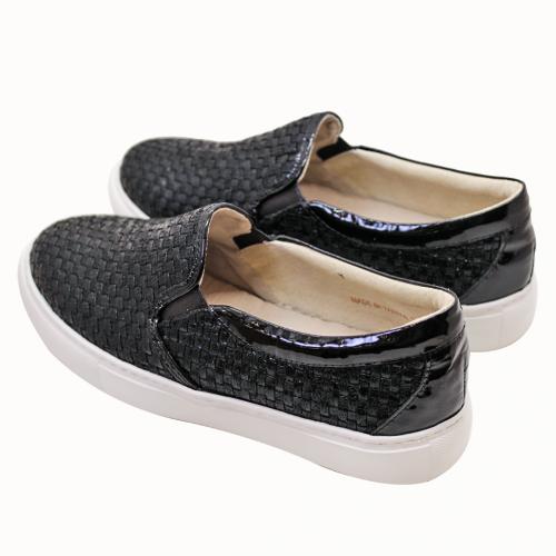輕量化手作編織壓紋厚底板鞋