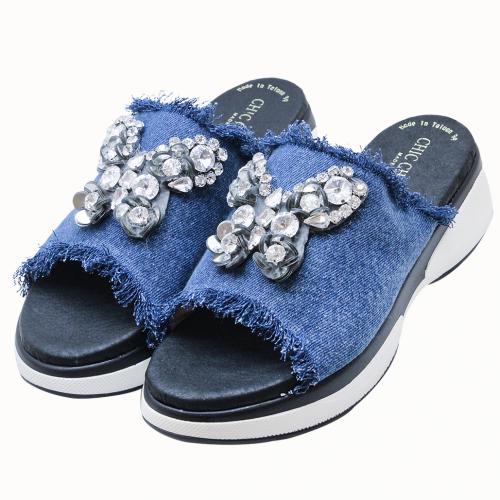 時尚蝴蝶造型手工刺繡單寧氣墊拖鞋