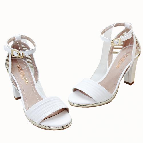 歐美時尚小羊皮粗跟繞踝高跟涼鞋