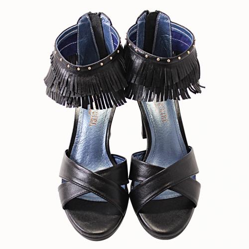 時尚流蘇風山羊皮高跟涼鞋