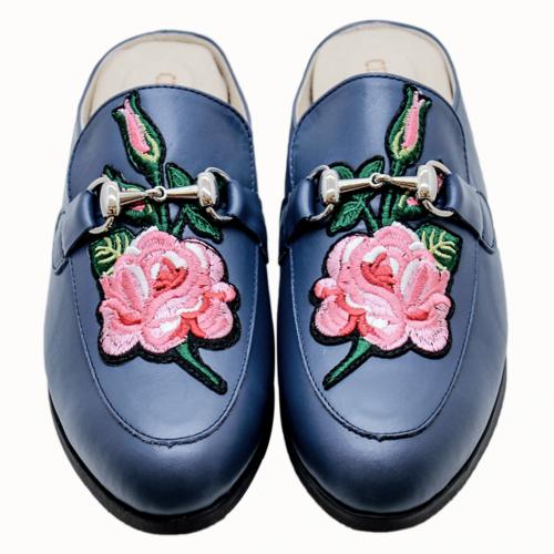 古馳風熱賣款小牛皮繡花氣墊涼拖鞋