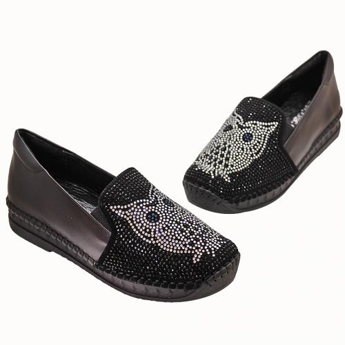 貓頭鷹造型貼鑽小羊皮厚底氣墊鞋