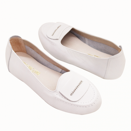 荔枝紋牛皮手作氣墊基本款平底鞋