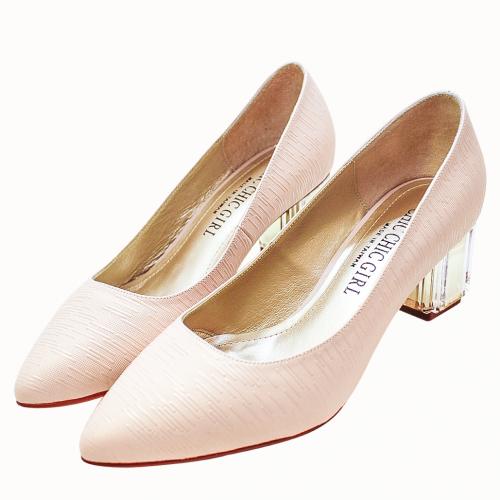 香奈兒風羊皮特殊壓紋透明粗跟鞋