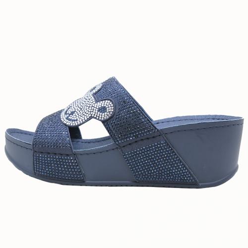 泰迪熊造型貼鑽輕高楔型拖鞋