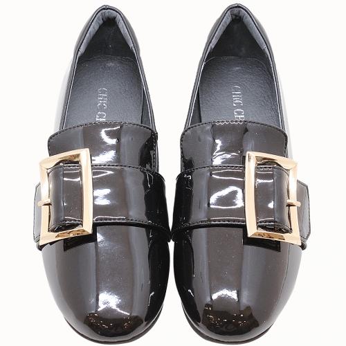 日系風羊漆皮金釦樂福鞋