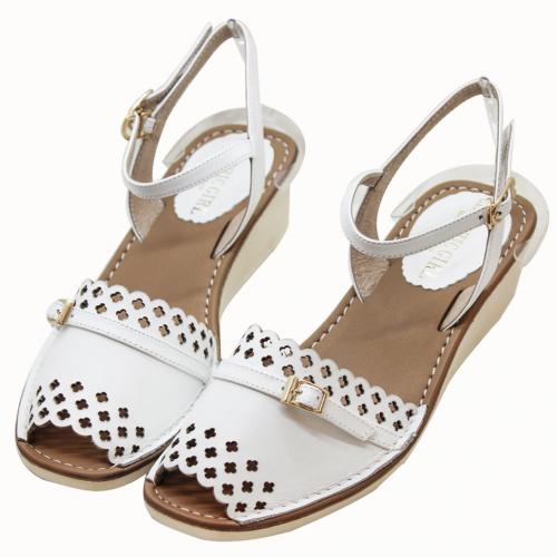 小牛皮雷射雕花輕量化楔型涼鞋
