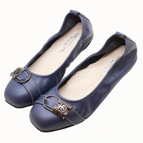 特殊金屬釦荔枝皮娃娃鞋