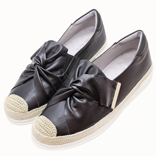 香奈兒風草編蝴蝶結小羊皮厚底板鞋