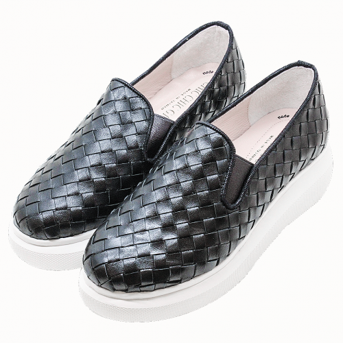 小牛皮手工編織氣墊厚底增高鞋
