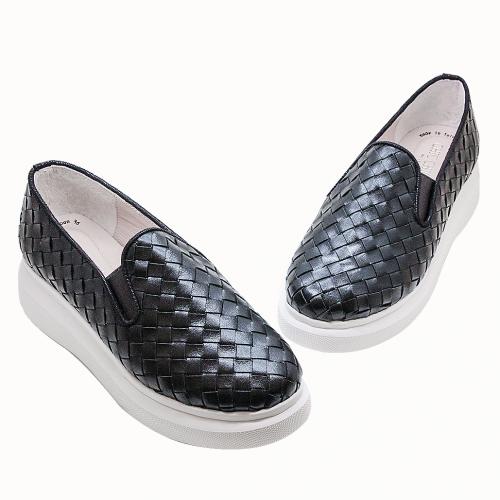 BV編織風小牛皮輕量化氣墊厚底鞋