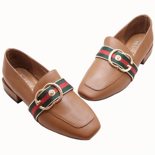 古馳風小牛皮金釦樂福鞋