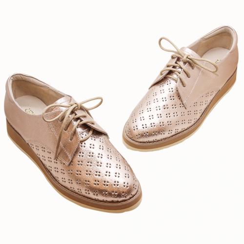 雷雕小碎花羊皮輕量化厚底休閒鞋