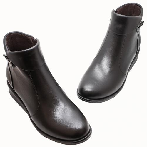 小牛皮氣墊輕量化楔型短靴