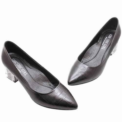 小羊皮特殊壓紋透明粗跟鞋