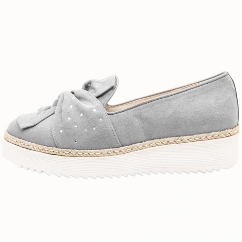 星空蝴蝶結羊麂皮草編厚底休閒鞋