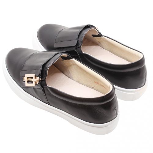 個性風拉鏈飾小牛皮厚底休閒鞋