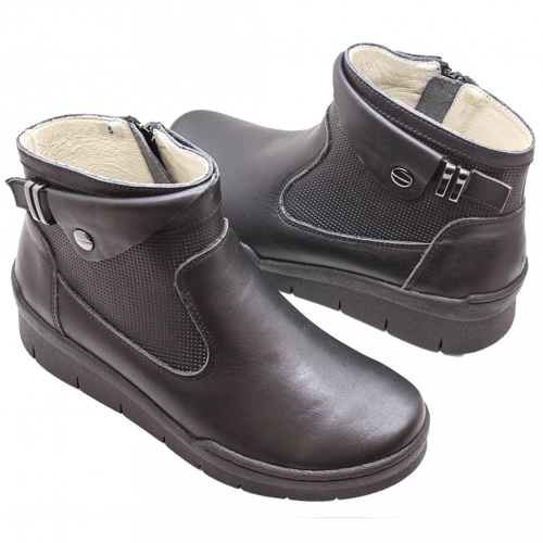 義大利頂級小牛皮雷雕楔型短靴