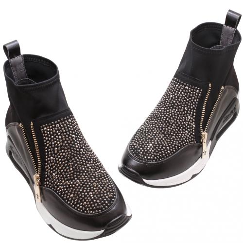 彈性萊卡水鑽氣墊高筒球鞋