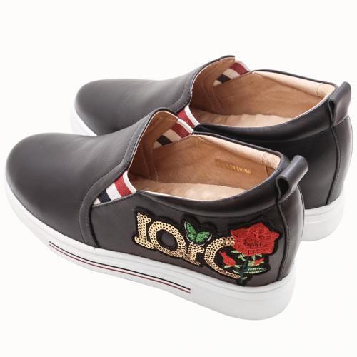 Dior風刺繡小牛皮刺繡亮片氣墊內增高鞋