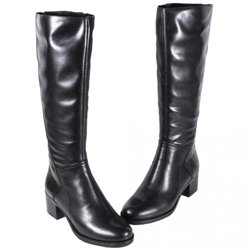 頂級小牛皮中粗跟及膝側拉式長靴