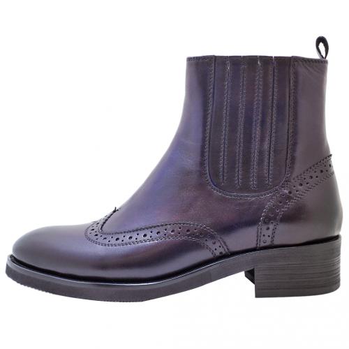 牛津復古風擦色側拉式短靴