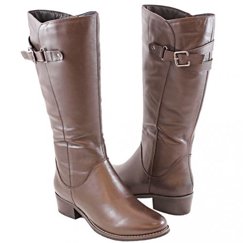 個性風小牛皮側拉式及膝長靴