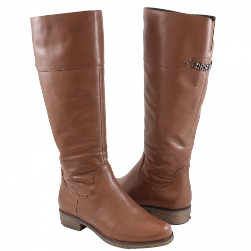 義大利頂級小牛皮側拉式低粗跟長靴