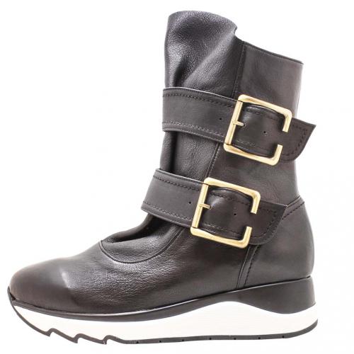 個性風綿羊皮厚底氣墊內增高中筒靴