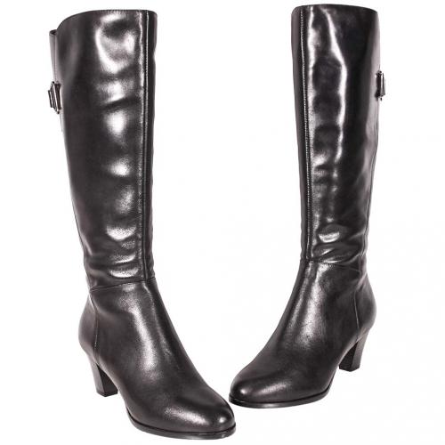 百搭款小牛皮擦色及膝中跟長靴