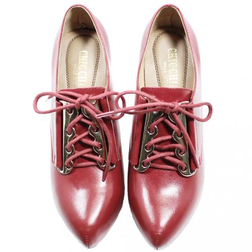 小牛皮性感綁帶細跟踝靴