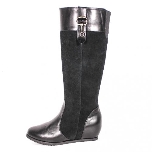小牛皮隱形後增高麂皮拼接長靴
