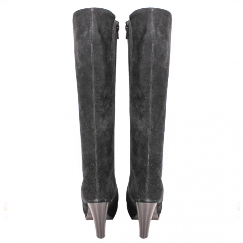 時尚牛麂皮水台素面長靴
