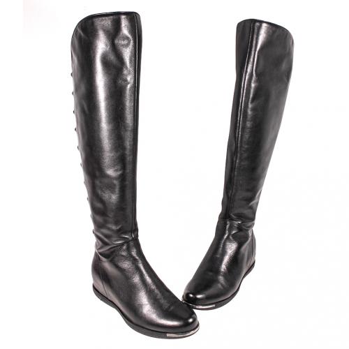 馬甲風小牛皮楔型平底長靴