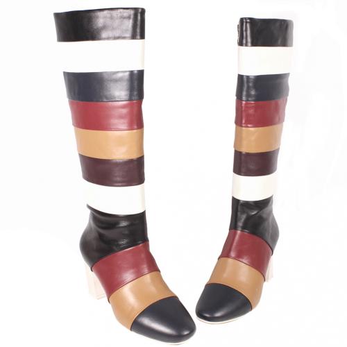 小牛皮彩色拼接及膝長靴