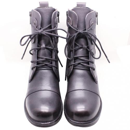 時尚小牛皮綁帶氣墊粗跟短靴