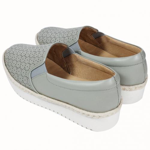 雷雕小牛皮草編氣墊休閒鞋