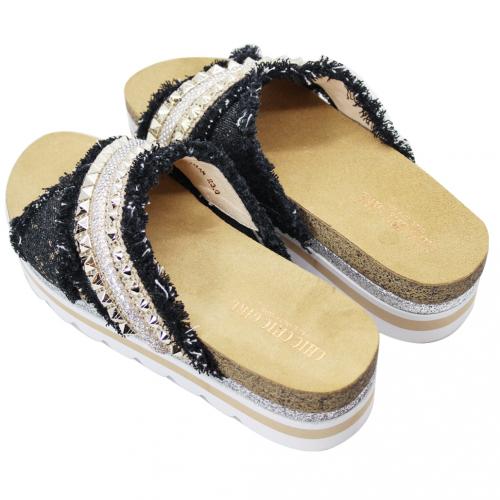 民族風鉚釘輕量化氣墊拖鞋
