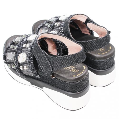 Bling寶石風單寧增高氣墊涼鞋