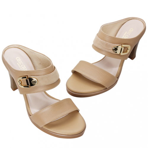 時尚歐美風小羊皮穆勒高跟涼鞋