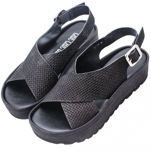 小羊皮雷射壓花厚底輕量化氣墊涼鞋