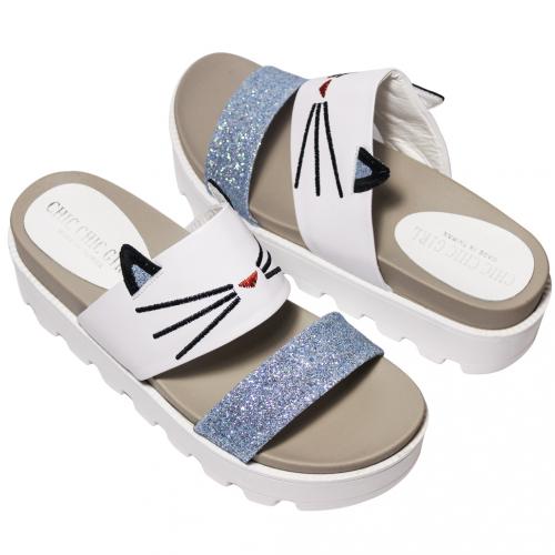 可愛貓貓小牛皮厚底輕高涼鞋