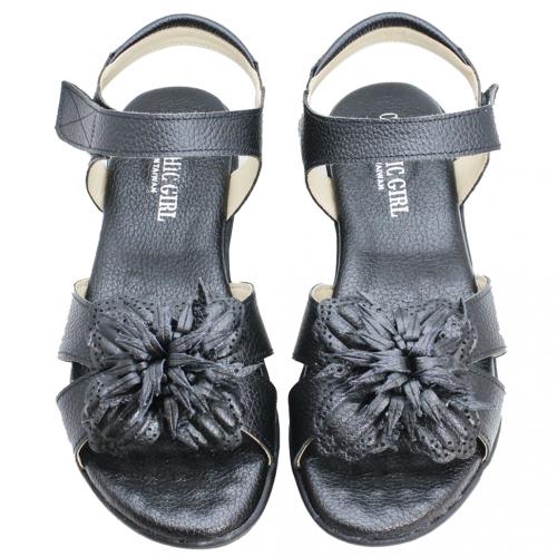 小牛皮平底氣墊涼鞋