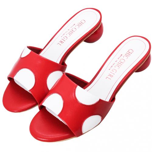 日系風點點小羊皮圓跟涼鞋
