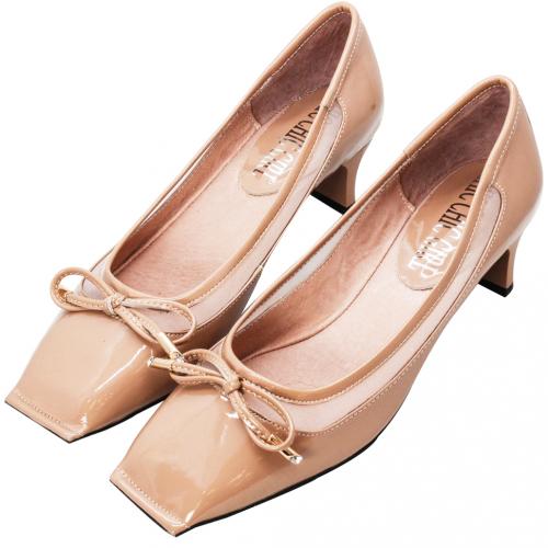 MIUMIU風方頭蝴蝶結羊漆皮低跟鞋