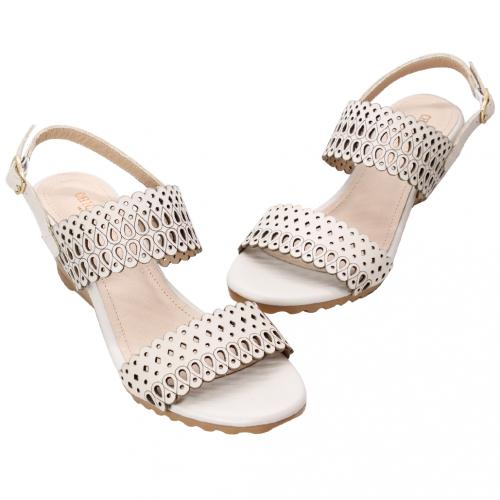 頂級小牛皮雷雕楔型氣墊涼鞋